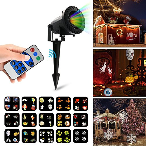 Vansky Christmas Projection Lights, Halloween Lights Projector with RF Remote Control, 15 Slides Dynamic Lighting Landscape, Christmas Lights Projector for Wedding, Party, Holiday (Halloween Decoration Ideas Outside)