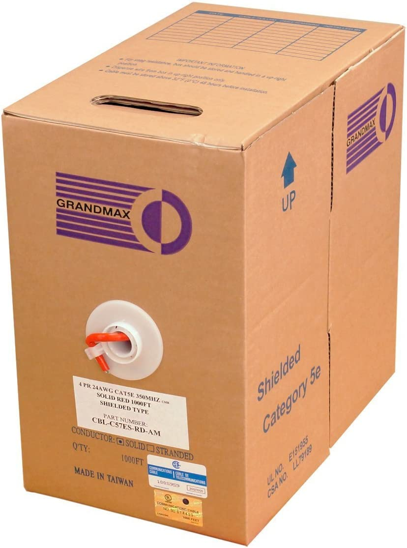 GRANDMAX CAT5e 350MHz Stranded Ethernet PVC Bulk Cable 100/% Copper 24 AWG// 1000FT// Gray cm Rated 4 Pair Wire UTP Pull Box 1000ft