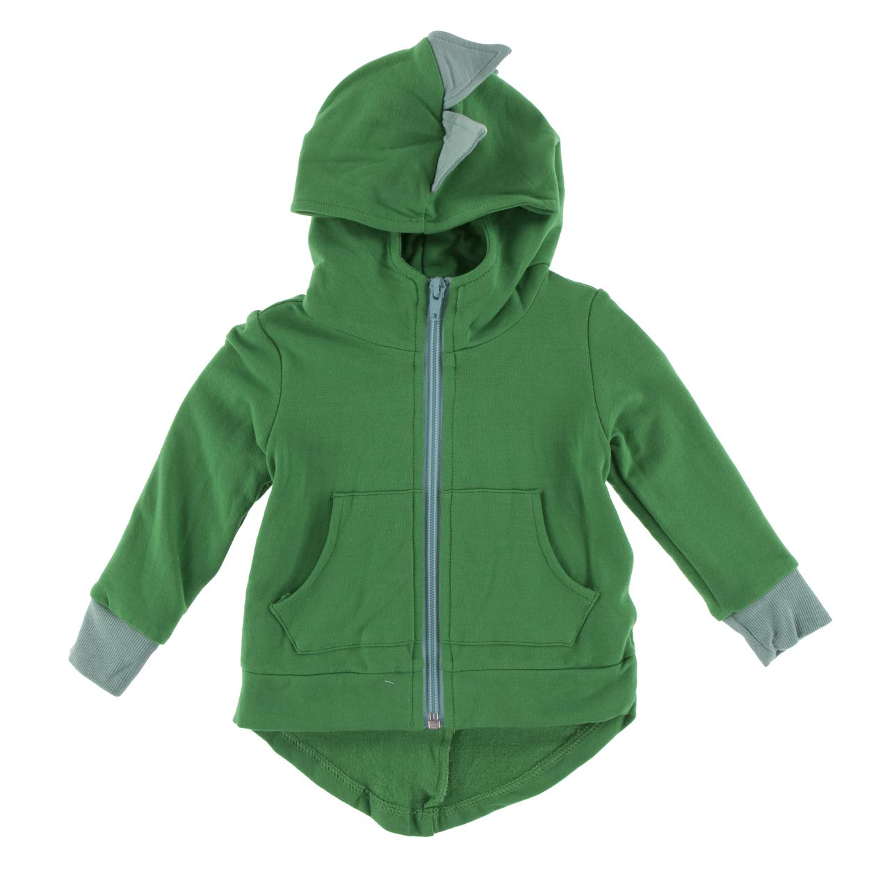 Kickee Pants Little Boys Solid Fleece Zip-Front Dino Hoodie - Fern with Shore, 6-12 Months by Kickee Pants