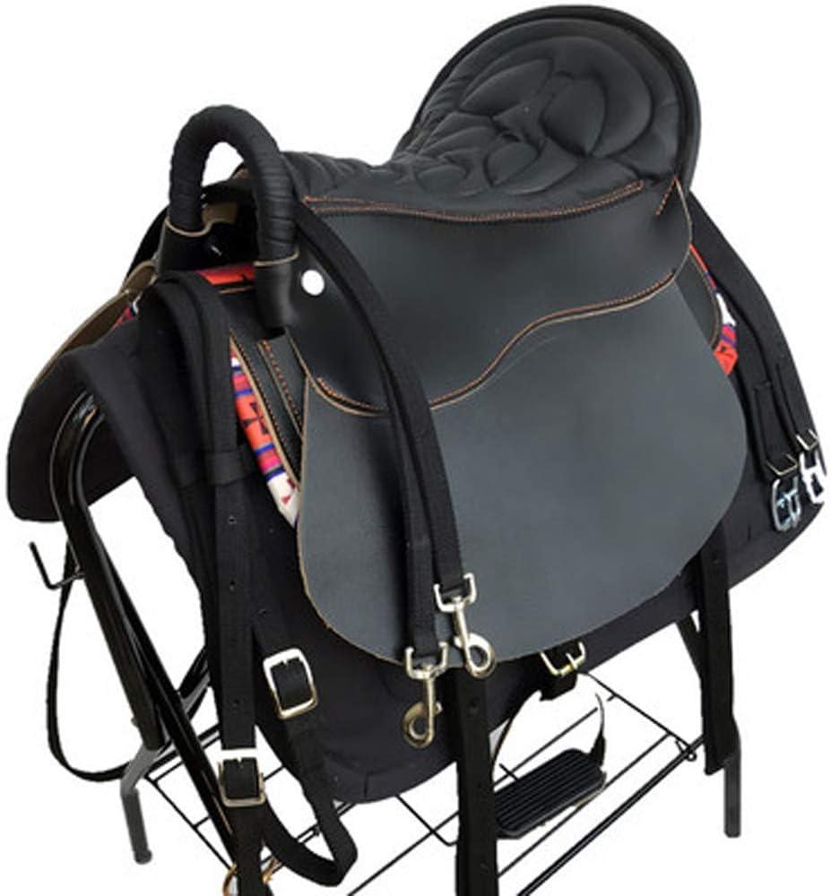 XMXM Furnishings - Juego completo de taburetes para montar y sillín, cómodo y práctico acolchado adecuado para equestre de campo de cruz, color negro
