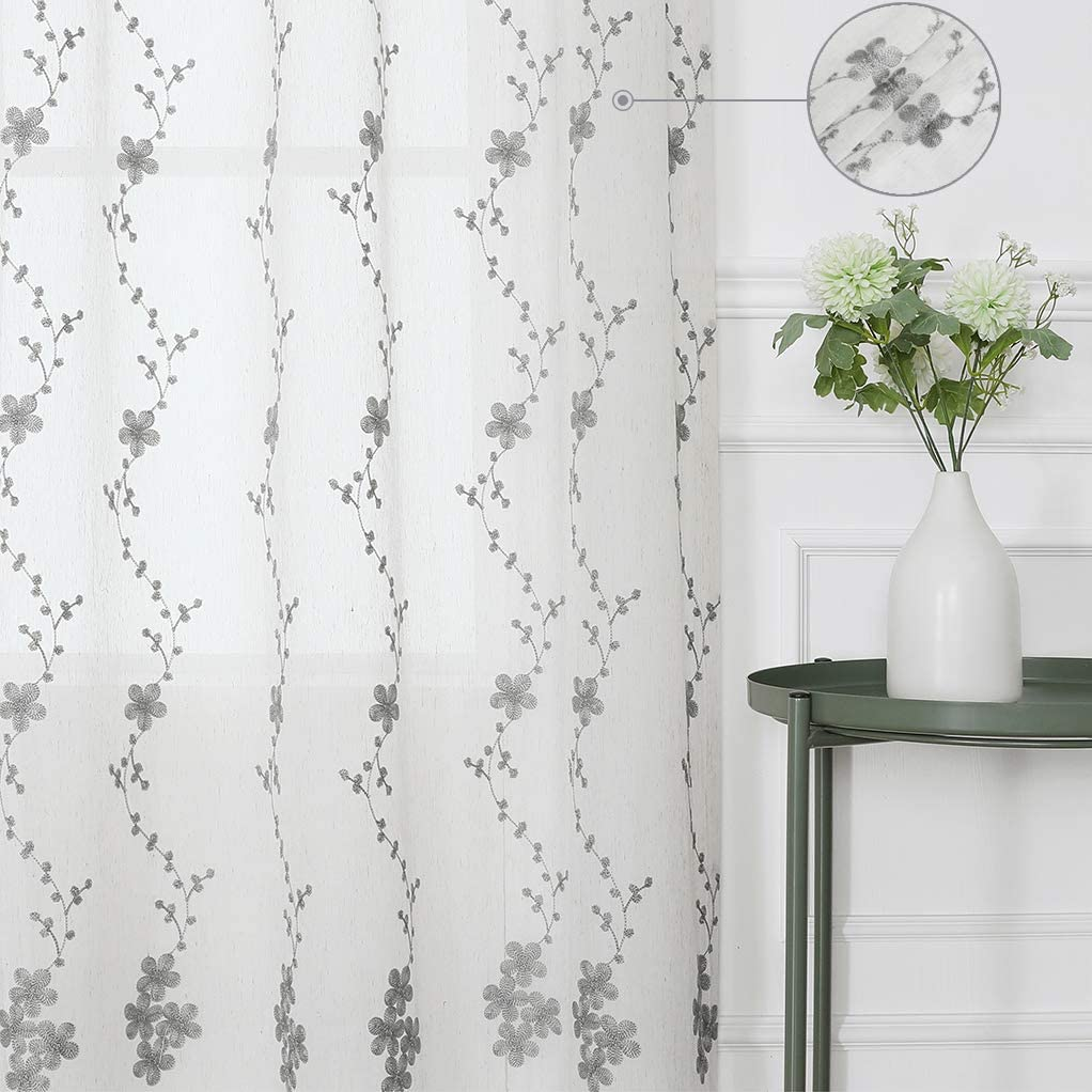 White and Grey Floral Embroidery Linen Sheer Curtain Panels Botanical Drapes Rod Pocket Window Treatment Voile Curtain, Living Room/Bedroom Drapes, 42 Inch Wide x 84 Inch Long, 2 Panels, Grey