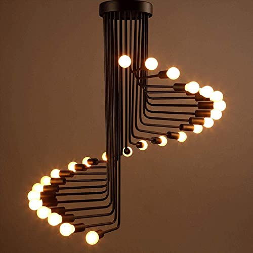 HongTeng American Country Industrial Wind Retro Chandelier Personality Creative Living Room Cafe bar Spiral Staircase Chandelier Size 26 Heads