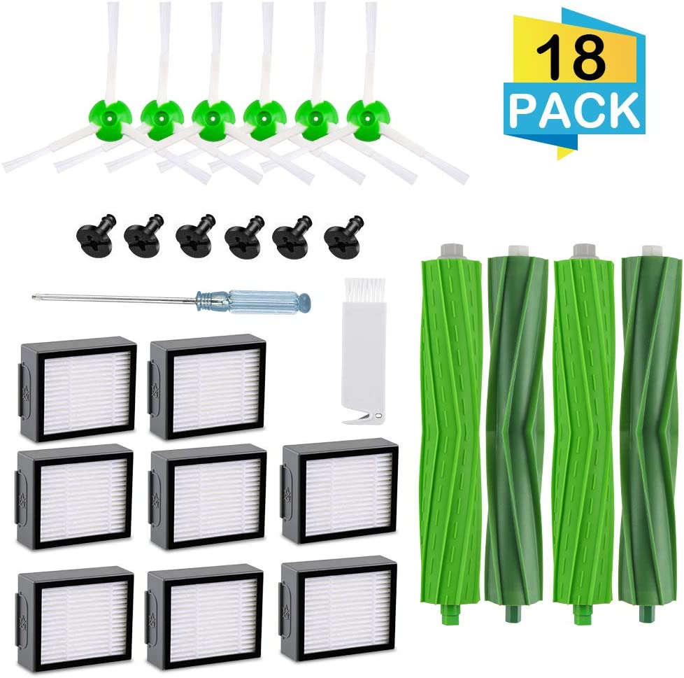 for i7 Replacement Part Filter, Compatible with iRobot Roomba i7 i7+/i7 Plus e5 e6 e7 Series Vacuum Cleaner, 8Pcs High-Efficiency HEPA Filter+6Pcs Edge-Sweeping Brush+2Sets Multi-Surface Rubber Brush