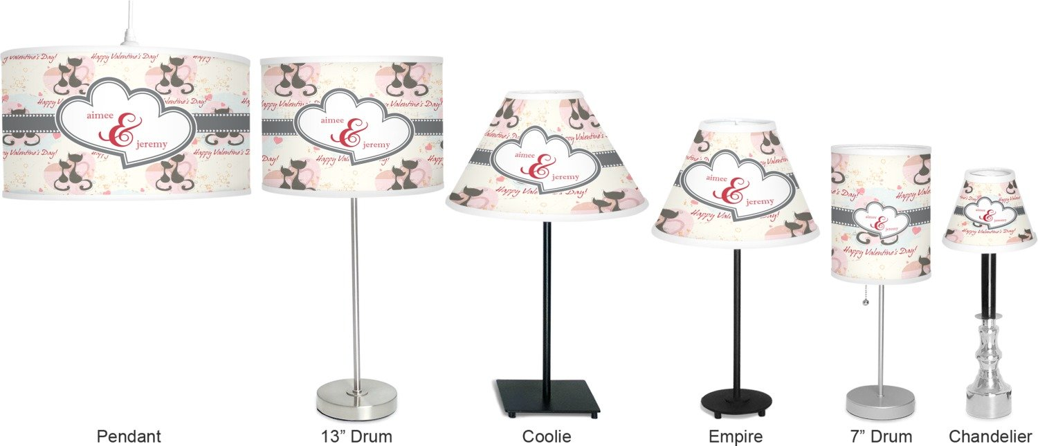 RNK Shops Cats in Love 7'' Drum Lamp with Shade Linen (Personalized) by RNK Shops (Image #5)