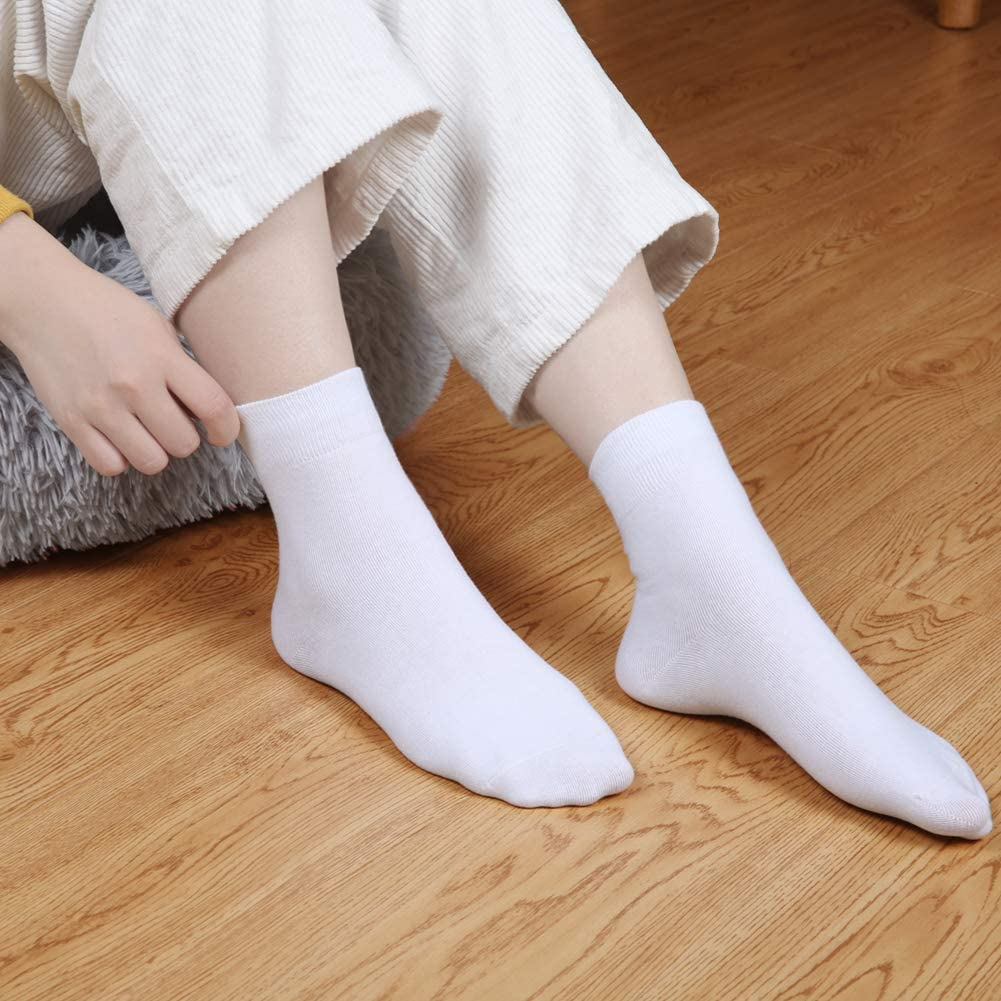 Socks Women Crew Quarter High Ankle Dress Cotton Thin Soft Casual Solid Color 5 Pairs 5 Pairs Womens Socks