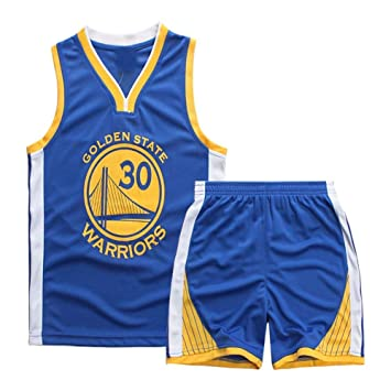 Angel ZYJ Maillots de Baloncesto para Niños- Conjunto NBA Curry#30 Camiseta de Baloncesto Chaleco & Pantalones Cortos de Verano para Chicos y Chicas