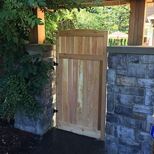 - 3 ft. x 6 ft. Western Red Cedar Arch Top Vertical Lattice Fence Gate