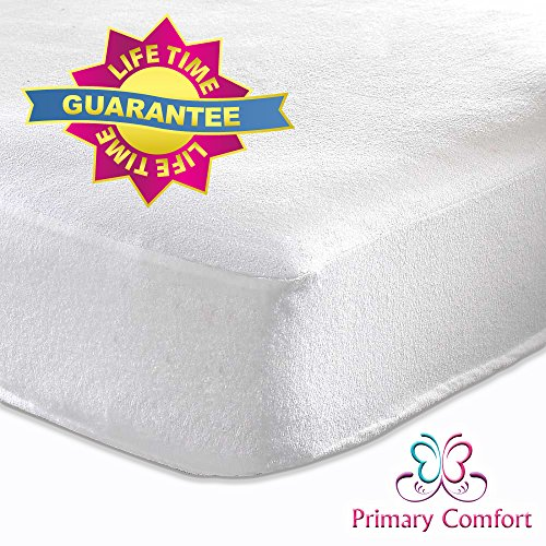 The Best Crib Mattress Protector by Primary Comfort - All Natural, Waterproof - Soft, Topper Style Fitted Mattress Pad for Baby Crib and Toddler - Protects Child From Allergies, Allergens and Dust Mites - *100% Lifetime Guarantee* - Stain Protection and High Quality Design - FREE EBook