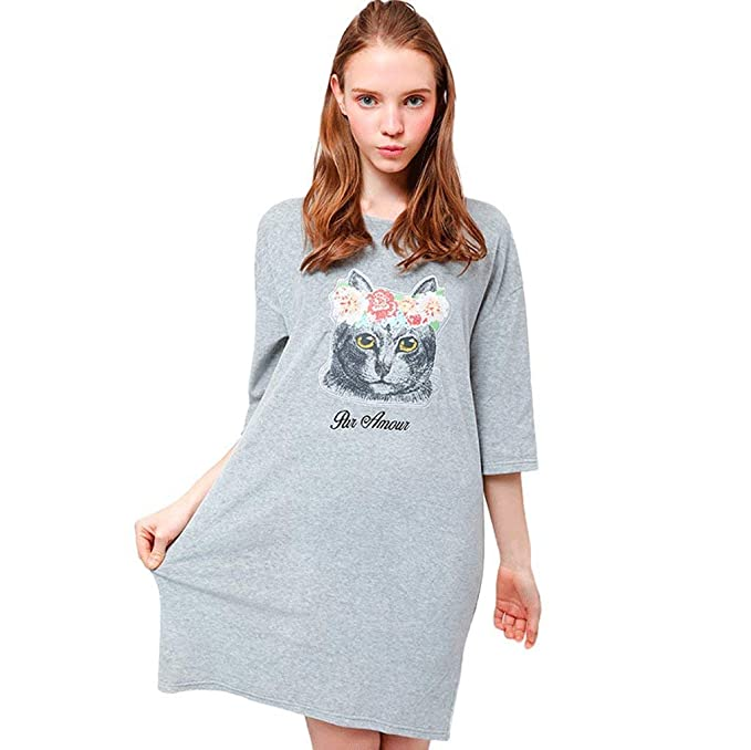 Mujer Dos Piezas Gatos Estampadas Camisón Vestido Mangas 3/4 Cuello Basic Redondo Anchas Casuales Vestido De Dormir Pijamas Mujer Ropa: Amazon.es: Ropa y ...