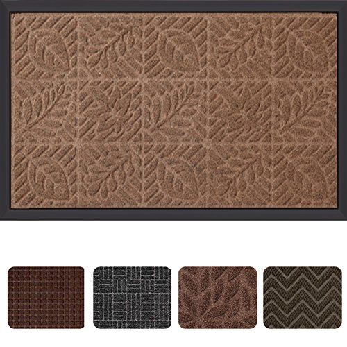 Outside Shoe Mat Rubber Doormat for Front Door 18''x 30'' Outdoor Mats Entrance Waterproof Rugs Dirt Debris Mud Trapper Carpet for Patio Non Skid Doormats all Weather Exterior Door Mat Brown by AMAGABELI GARDEN & HOME