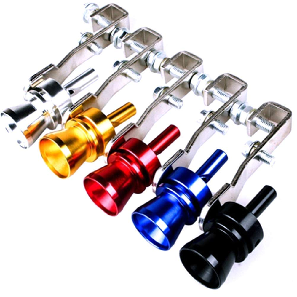 Blue VORCOOL Aluminum Alloy Car Turbo Sound Exhaust Whistle Pipe Tailpipe Blow-Off Valve Simulator Size S
