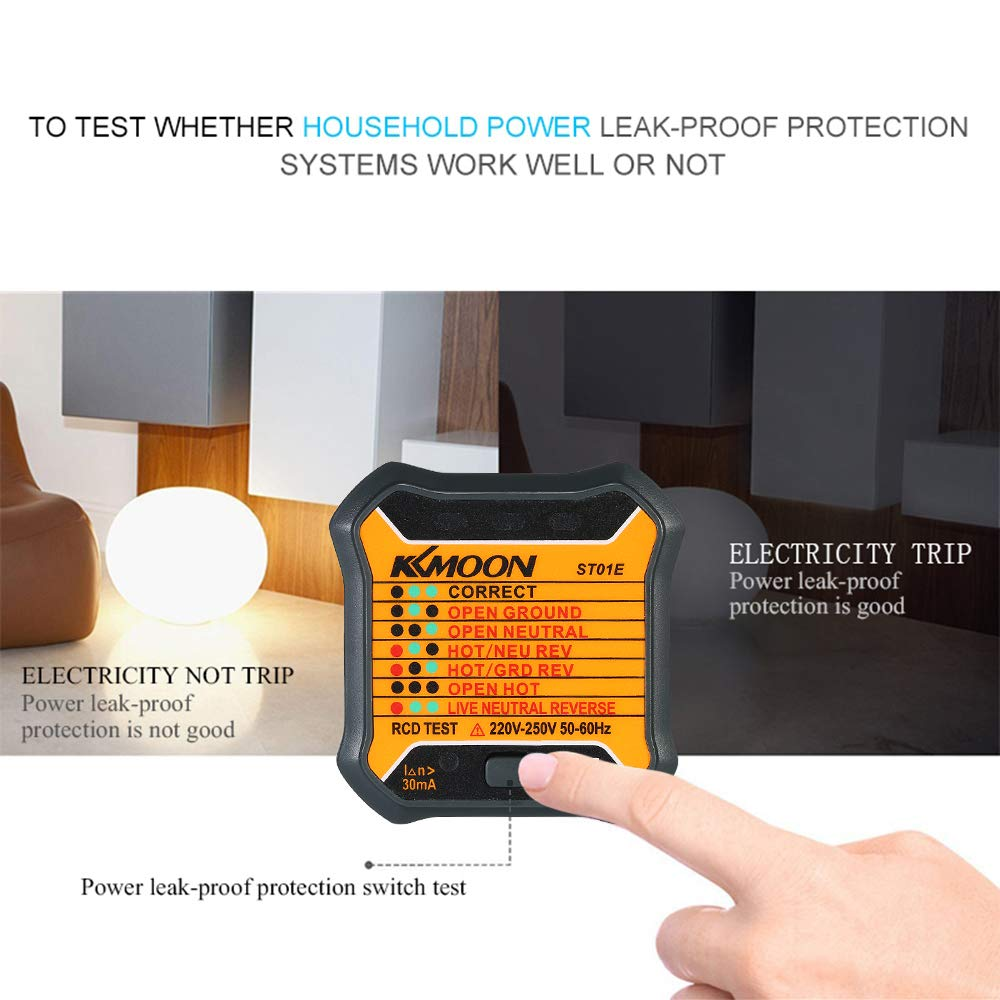 Kkmoon Automatic Electric Socket Tester Neutral Live Earth Wire Wiring An Electrical Uk Testing Rcd Test Plug Diy Tools