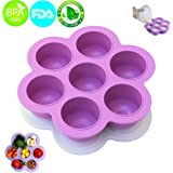 MerryMore Silicone Storage Container and Baby Food Freezer Tray with Lid Silicone Egg Bites Molds for 5/6/8qt Instant Pot - BPA Free, Premium 100% FDA Food Grade Silicone (Purple)