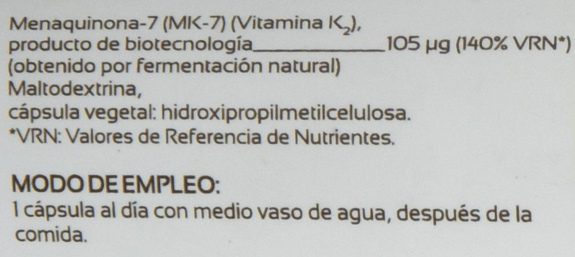 VITAMINA K2 * 105 μg / 60 cápsulas * Articulaciones (cartílago, inflamación), Cardiovascular (circulación), Hueso * Garantía de satisfacción o reembolso ...