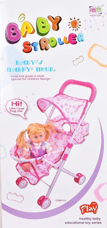 HOCHSTE Baby Kid First Doll Stroller Buggy Pushchair Pram Girls Toy Set Pink - 168