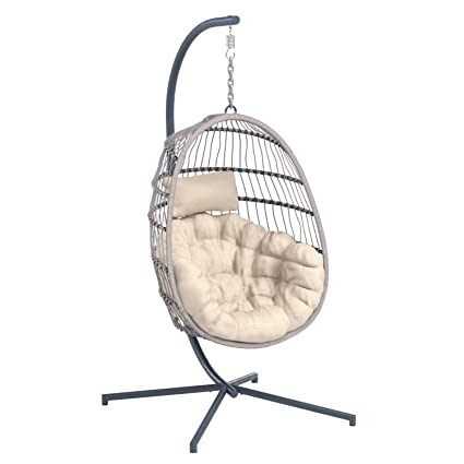 Amazing Amazonbasics Outdoor Pe Wicker Rattan Hanging Chair With Stand Bralicious Painted Fabric Chair Ideas Braliciousco