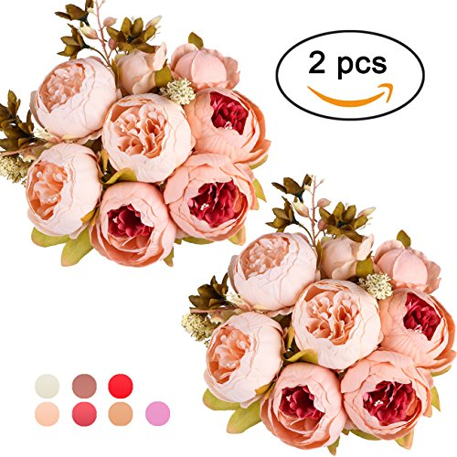 Ogrmar Vintage Artificial Peony Silk Flowers Bouquet for Decoration (Light pink x2) by Ogrmar