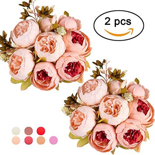 Ogrmar Vintage Artificial Peony Silk Flowers Bouquet for Decoration (Light pink x2) (Artificial Bouquet)