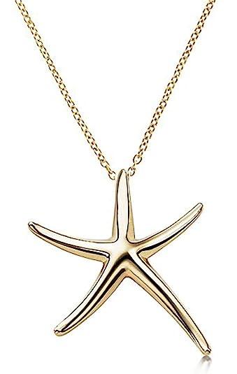 Amazon starfish pendant necklace 925 sterling silver celebrity starfish pendant necklace 925 sterling silver celebrity designer style gold tone 16quot 18quot aloadofball Choice Image