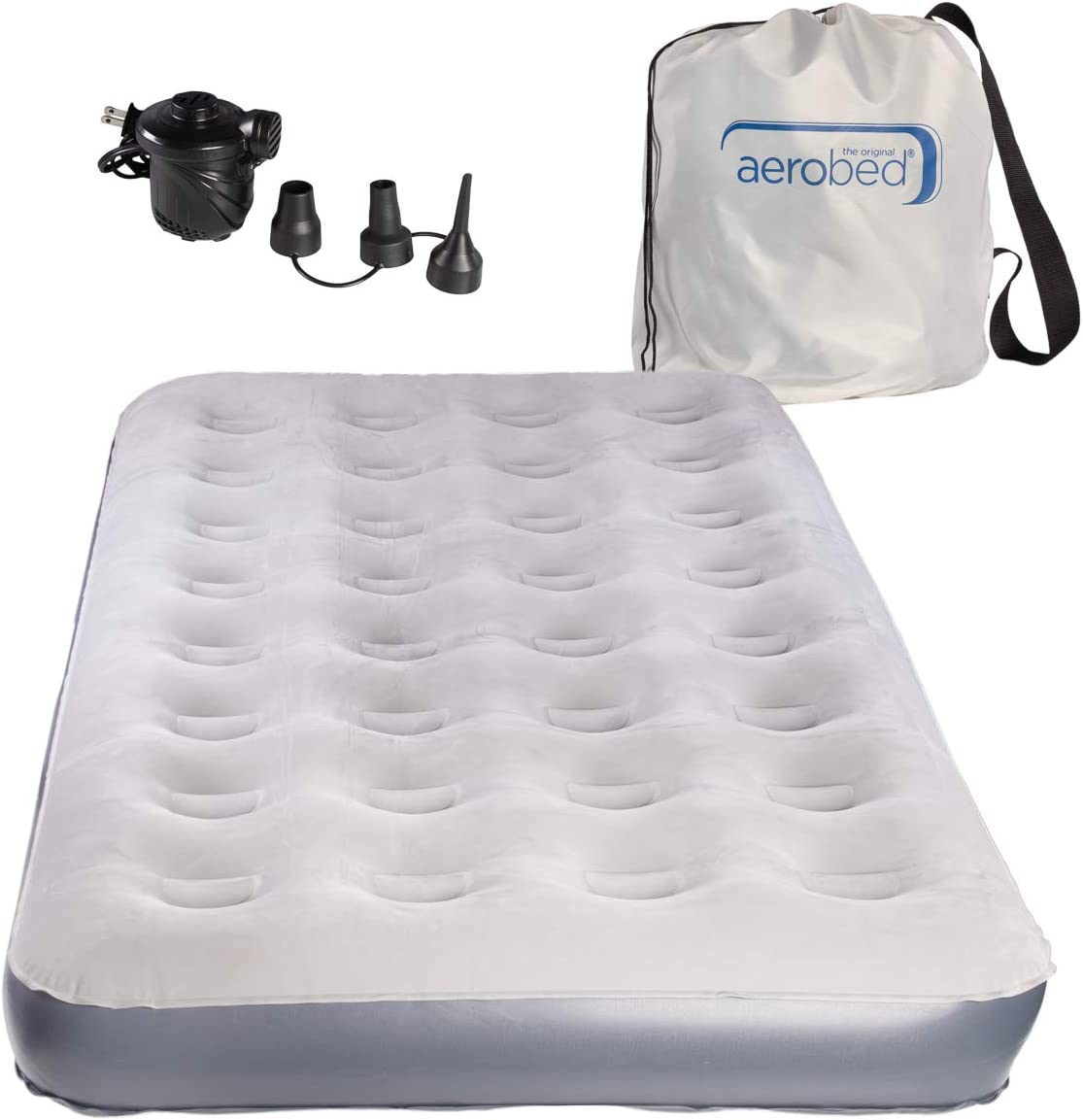 AeroBed Twin Air Mattress With Bag and Air Mattress Pump: Inflatable Mattress Twin, Blow Up Mattress With Air Bed Pump
