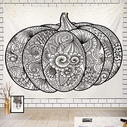 Batmerry Black and White Tapestry, Halloween Pumpkin Coloring
