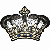 Dandan DIY Big Crown Embroidered Patch with Sequins Sew on/Iron on Patch Applique Clothes Curtain Sewing Flowers Applique Home Wedding Party Decoration Diy Accessory(Crown)