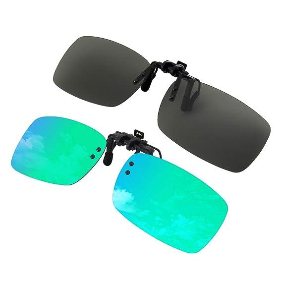 2 Clip on Sunglasses Polarized Frameless Rectangle Lens Prescription Eyeglass