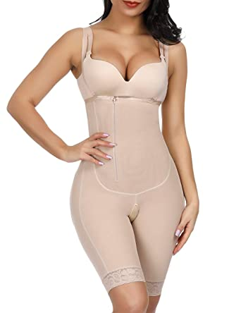 c8dad609b5e Women's Body Shaper Bodysuit Seamless Mid-Thigh Shapewear Underbust Open  Crotch Thigh Slimmer Butt Lifter