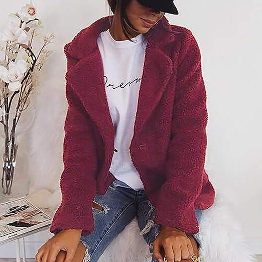 Amazon.com: AOJIAN Women Jacket Long Sleeve Outwear Warm Plush Turn Down Collar Solid Ladies Overcoat Coat: Clothing