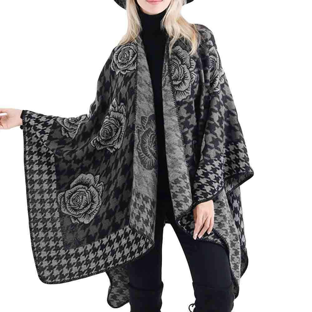 Tsmile Women Coat Winter Fashion Ladies Blanket Flower Print Design Tunic Wrap Cozy Shawl Outwear