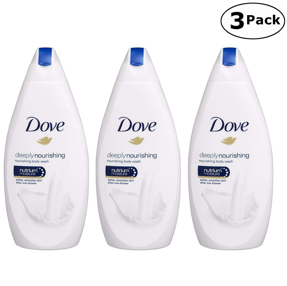 Dove Deeply Nourishing Body Wash, 16.9 Fluid Ounce / 500 ml (Pack of 3) International Version by Dove