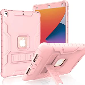 LTROP New iPad 10.2 Case, iPad 8th Generation/7th Generation Case with Built-in Screen Protector, Heavy Duty Rugged Full-Body Drop Protection Stand Case Cover for iPad 10.2-inch 2020/2019, Rose Gold