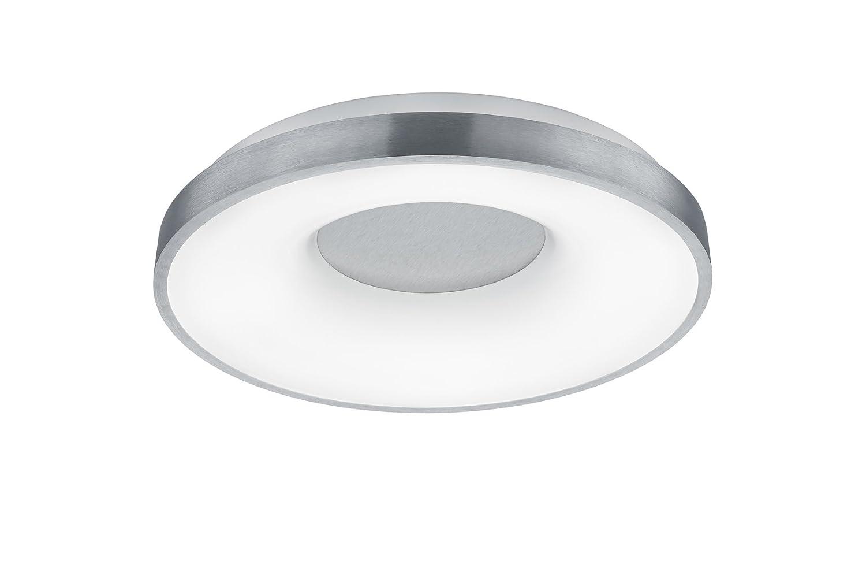 Trio Leuchten LED Deckenleuchte, Metall, Integriert, 40 W, Nickel Matt/Acryl Weiß, 50 x 50 x 7.7 cm
