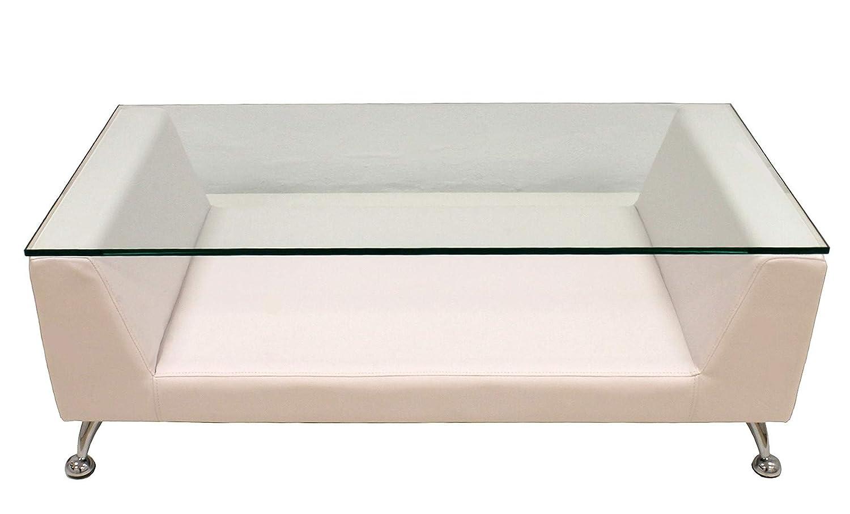 Grupo SDM Mesa de Centro Cristal, Blanca, 120x60 cms: Amazon.es: Hogar