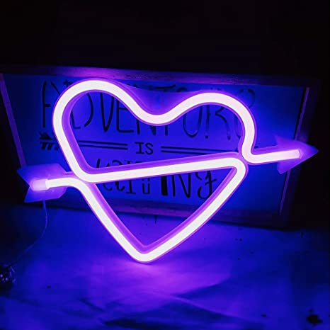 Neon Heart Signs Led Neon Lights up Sign Decorative Neon Wall Light for  Girls Room (Lavender Cupid)