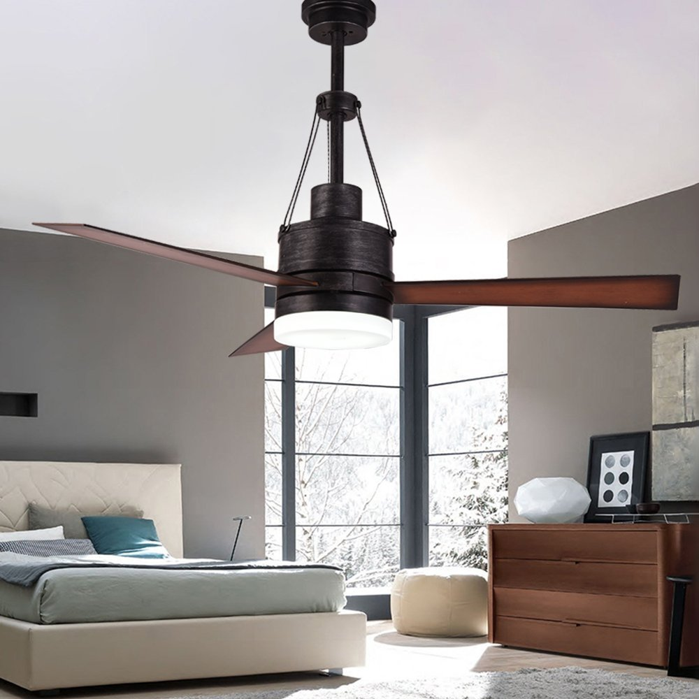 RainierLight Modern Ceiling Fan with LED Light and Remote Control for Bedroom/Living Room/Dining Room Vintage Steel Finish Mute Fan