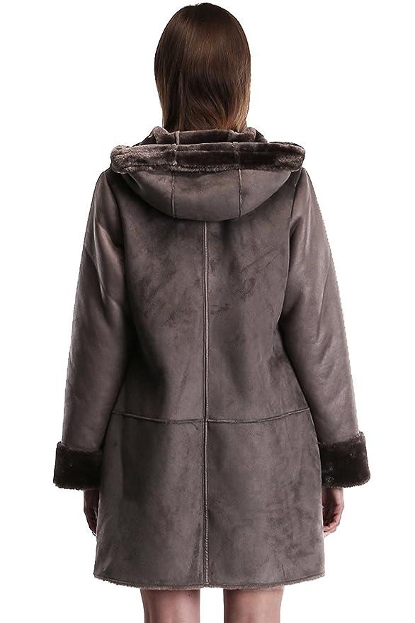 Ovonzo mujeres de piel de ante sintético con cremallera y botón de cierre con capucha: Amazon.es: Ropa y accesorios