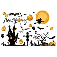65-Pieces Halloween Window Clings Decorations Stickers (Witch Bat)