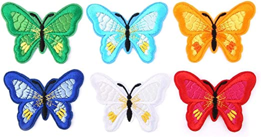 12 Unids Patrón de Mariposa Parches de Tela, Ropa de Bricolaje Remiendo Accesorios Bordado de Dibujos Animados Ropa Pegatina Parche de Hierro para Chaquetas Mochilas Jeans Ropa: Amazon.es: Hogar