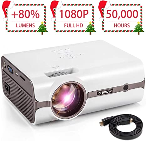 CRENOVA XPE496 Mini Projector, Full HD 1080P and 170 Display Supported, Portable Mini Video Projector, 50,000 Hours Led, Compatible with PC, Mac, ...