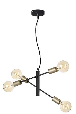 Briloner Leuchten - Lámpara de techo (4 focos, metal, 60 W ...