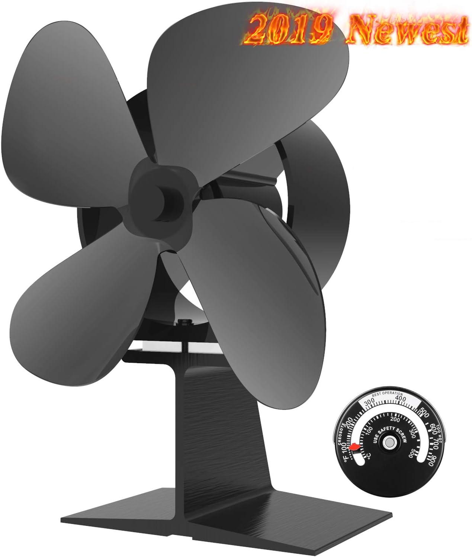 leise und wartungsarm W/ärmebetriebener Ventilator f/ür Holzofen oder Kamine leitet warme Luft durch Haus umweltfreundlich Ofenventilator