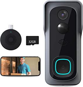 Video Doorbell Camera, Lefun 1080P WiFi Wireless Security Camera Doorbell with 32Gb SD/Chime, IP65 Waterproof Smart Outdoor Doorbell Camera, Motion Detect, 2-Way Audio,Night Vision,166° Wide View