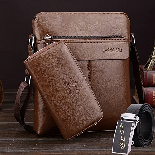 ZHUDJ The New Tide Of Fashion Leisure Package Bag Bag Business Men Retro British Style Handbag Briefcase,Dark Brown, Three Piece Set Khaki three piece