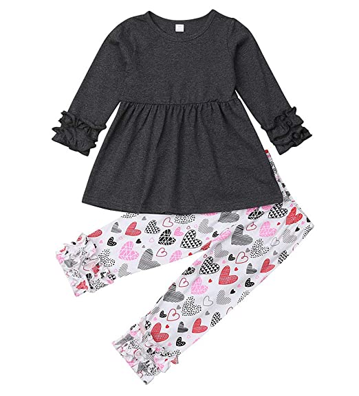 Toddler Baby Girl Kids Love T-Shirt Tops+Pants Spring Autumn Outfits Clothes Set