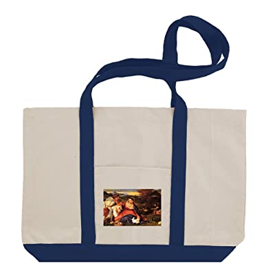 Madonna And Child (Titian) Cotton Canvas Boat Tote Bag Tote