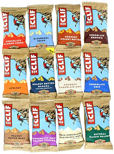 Clif Bar 12 Bar Variety Pack, 1 Bar of each - Chip Coconut Clif Bar Chocolate