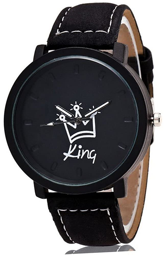 Amazon.com: 2pcs King and Queen Crown Couples Watch Wristwatch with PU Faux Leather Band for Lovers Xmas Gift (King & Queen): Watches