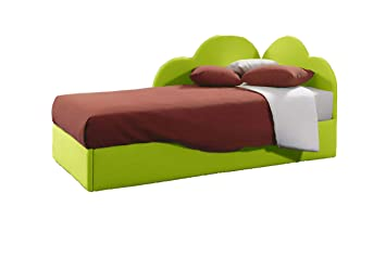 Divani Made In Italy.Ponti Divani Single Bed With Pull Out Bed Coating In Green Eco