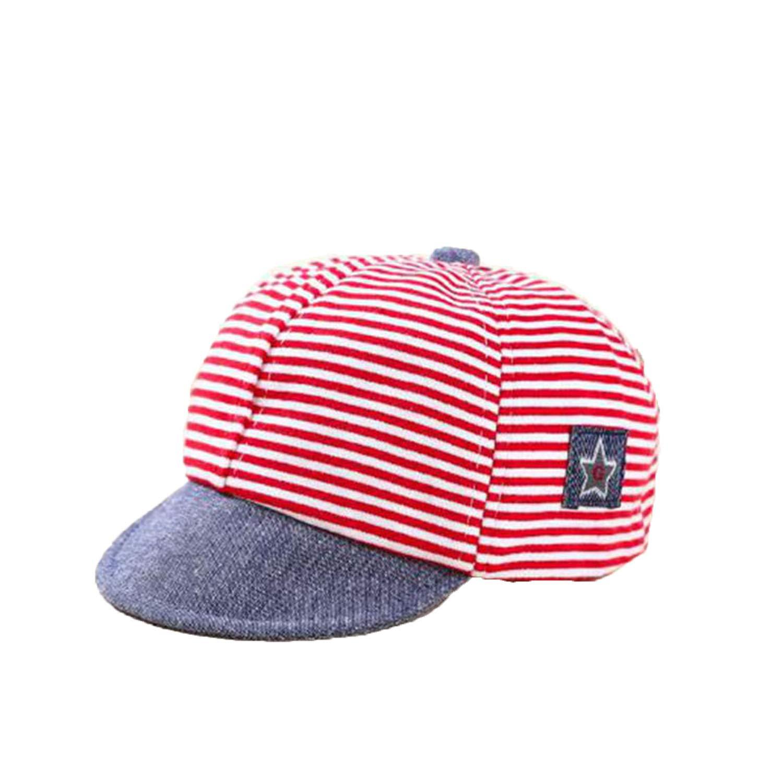 Kids Summer Spring Cotton Hats Casual Striped Cotton Hats Baby Boy Girl Sun Hats Soft Eaves Baseball Cap